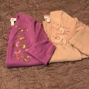 Cardigan sweaters.
